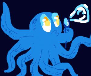octopus boy blowing a bubble