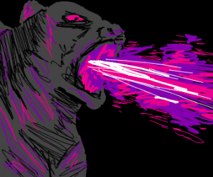 Godzilla breathing out purple and pink fire