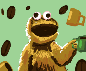 cookie monster high on caffeine