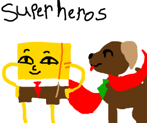 Superhero Spongebob and Dog wearing ties