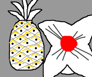 Albino pineapple and a japanese pillow