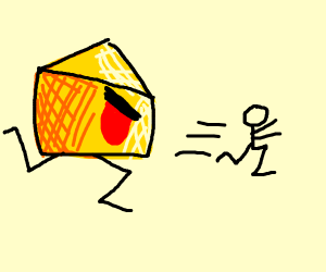 Evil Cheese chases little man