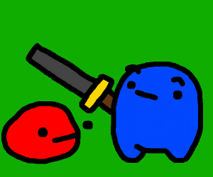 blue thing holds sword over red thing