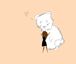 You hug the giant bear
