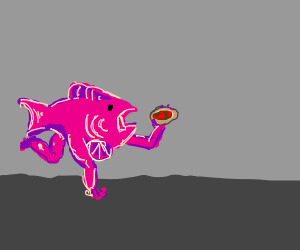pink fish with legs holding a pizza goin fast