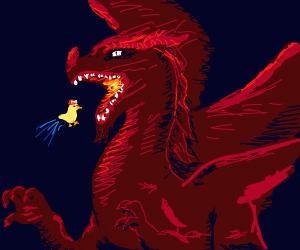 a red dragon eats super mario chicken