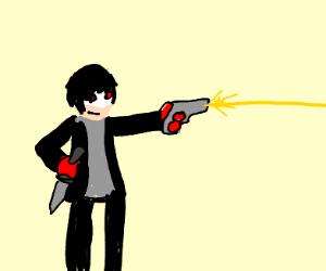 FOR HIS NEUTRAL SPECIAL, JOKER WEILDS HIS GUN