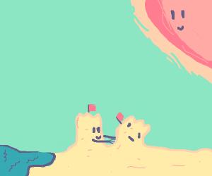 Sandcastle attempts building a friend