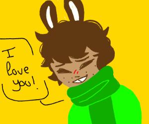 cute anime bunny boy loves you