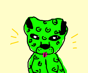 Epic-looking neon green leopard. I want one.