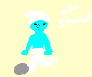 A smurf tripping over a rock