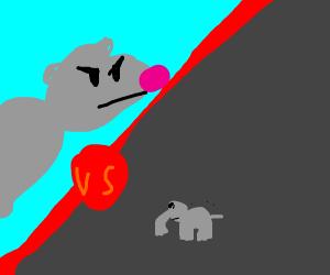 Huge ass rat fighting a tiny ass elephant
