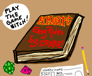"A book titled, ""MMORPG EASY RULES by -------"""