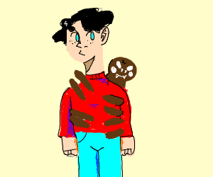 a spider attached to a man
