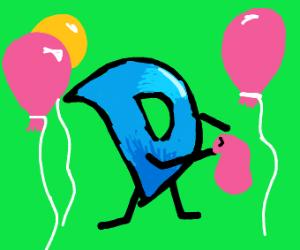 Drawception D blows a balloon
