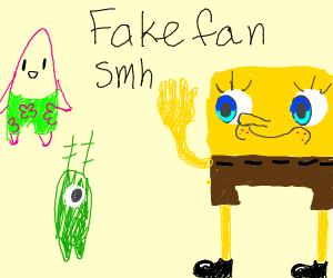 SpongeBob waving to a green blob and pink poo