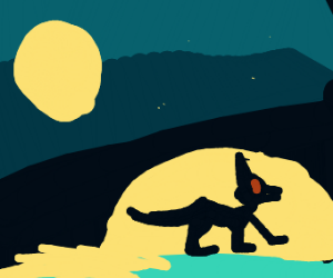 Invisible Buff Dog at night