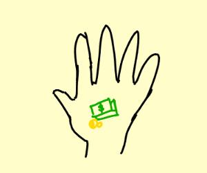 hand holding a tiny money