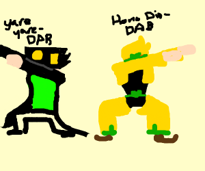 Jotaro and dio have a dabbing contest