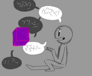 purple cube and grey man talk on and on