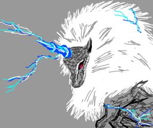 Raiju Legendary Thunder Beast Drawception 5,000 years old elemental silver wolf (lightning control). raiju legendary thunder beast
