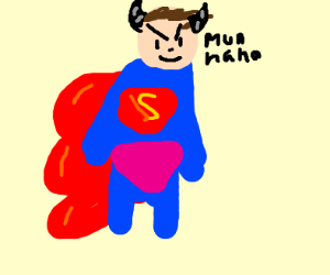 Superman with horns looking evil