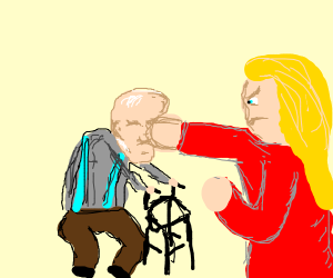 "Girl punishes a man named ""Senile"""