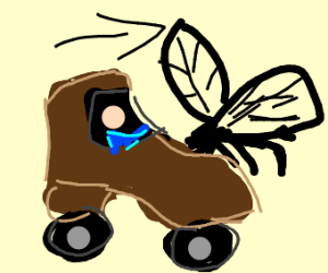 Shoe car follows giant mosquito