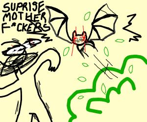 Bat flying from a bush