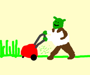Shrek mowing his lawn