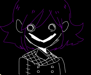 Anime boy with a creepy happy grin