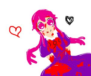 Bloody anime girl with pink hair