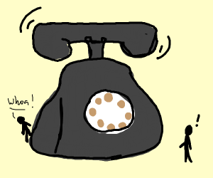 A giant rotary dial phone