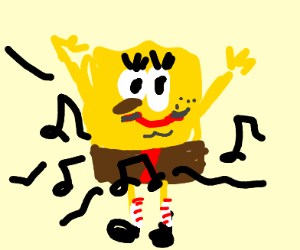 SpongeBob playing music out of his crotch