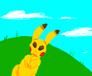 Pikachu stares into the blue sky