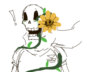 Papyrus is surprised by Flowy in eyesocket