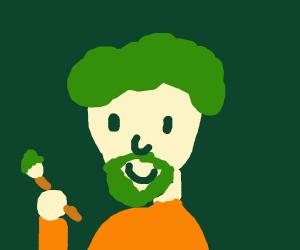 Green haired Bob ross