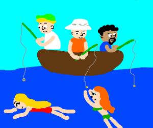 3 guys go bae fishing