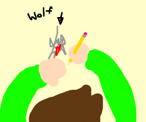 Guy drawing a very bad wolf