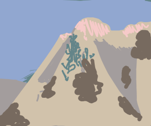 Mountain with poop stains