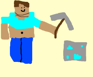 Minecraft Steve Mining Diamonds Drawception
