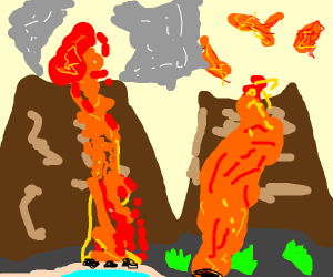 Two eruptions