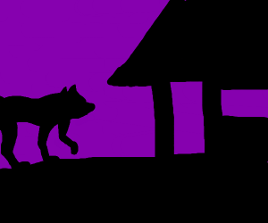 Wolf is angry at a house