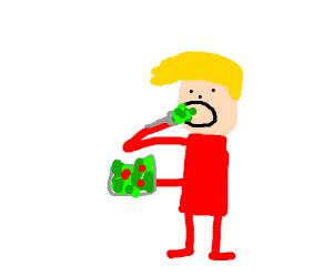 Blonde guy eats salad