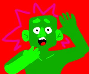 green man screaming