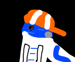 star wars person in orange and white cap