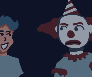 Clown is not impressed with kid