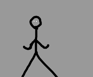 black stick figure with no mouth, white eyes