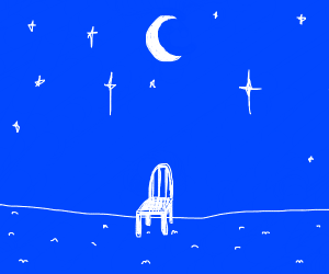 A solitary chair, amongst the moon and stars.