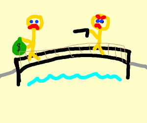 Man with money being chased across bridge